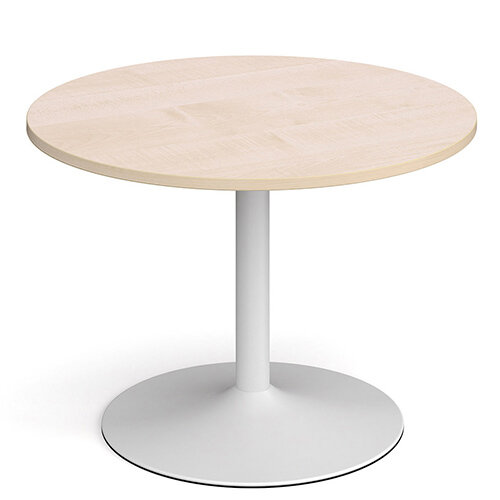 Genoa Circular Maple Dining Table with White Trumpet Base 1000mm