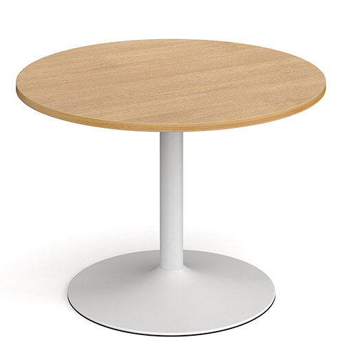 Genoa Circular Oak Dining Table with White Trumpet Base 1000mm