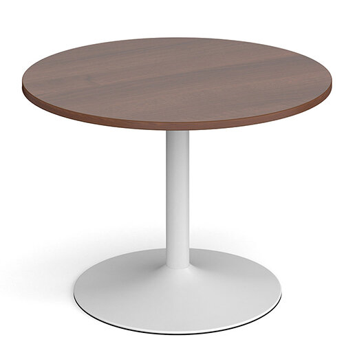 Genoa Circular Walnut Dining Table with White Trumpet Base 1000mm