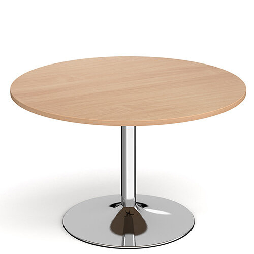 Genoa Circular Beech Dining Table with Chrome Trumpet Base 1200mm