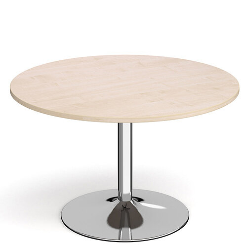 Genoa Circular Maple Dining Table with Chrome Trumpet Base 1200mm