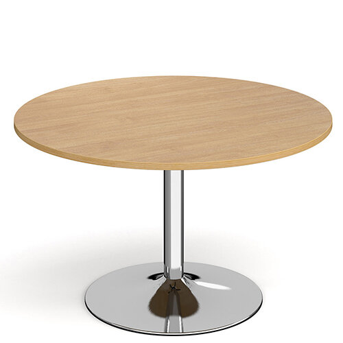 Genoa Circular Oak Dining Table with Chrome Trumpet Base 1200mm
