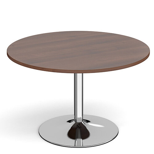 Genoa Circular Walnut Dining Table with Chrome Trumpet Base 1200mm