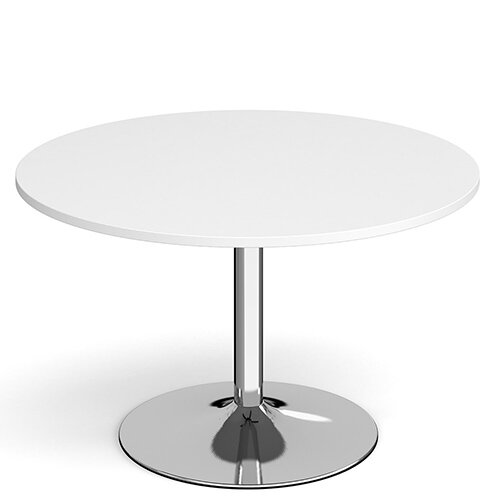Genoa Circular White Dining Table with Chrome Trumpet Base 1200mm