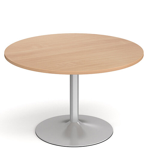 Genoa Circular Beech Dining Table with Silver Trumpet Base 1200mm