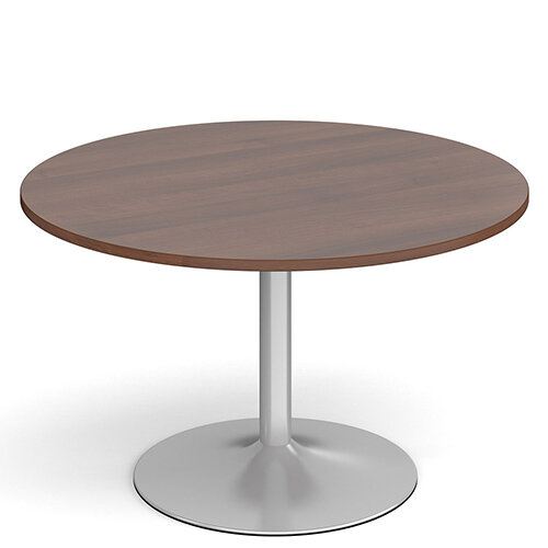 Genoa Circular Walnut Dining Table with Silver Trumpet Base 1200mm