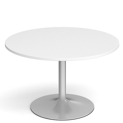 Genoa Circular White Dining Table with Silver Trumpet Base 1200mm