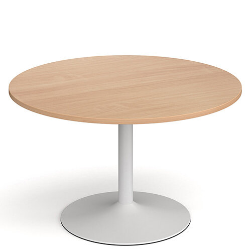 Genoa Circular Beech Dining Table with White Trumpet Base 1200mm