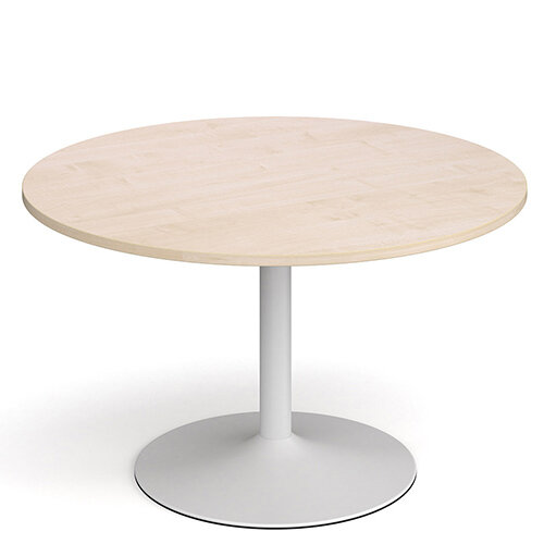 Genoa Circular Maple Dining Table with White Trumpet Base 1200mm