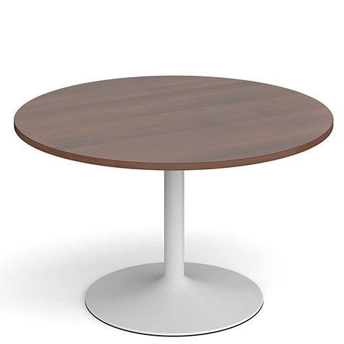 Genoa Circular Walnut Dining Table with White Trumpet Base 1200mm