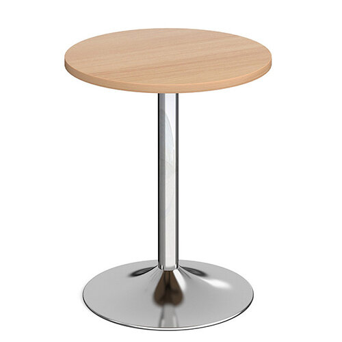 Genoa Circular Beech Dining Table with Chrome Trumpet Base 600mm