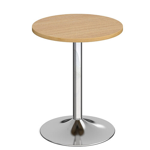 Genoa Circular Oak Dining Table with Chrome Trumpet Base 600mm