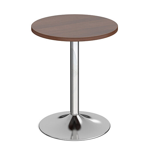 Genoa Circular Walnut Dining Table with Chrome Trumpet Base 600mm