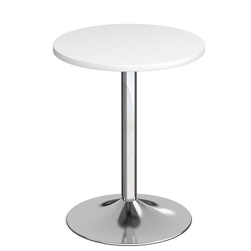 Genoa Circular White Dining Table with Chrome Trumpet Base 600mm