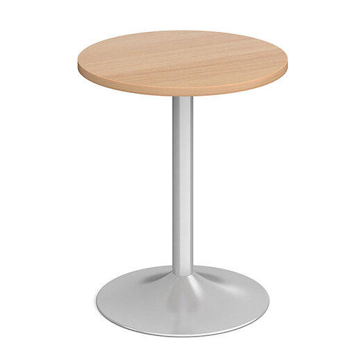 Genoa Circular Beech Dining Table with Silver Trumpet Base 600mm