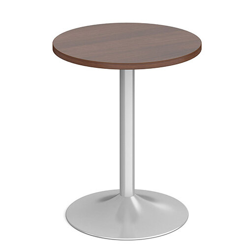 Genoa Circular Walnut Dining Table with Silver Trumpet Base 600mm