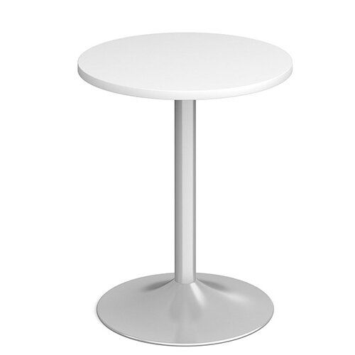 Genoa Circular White Dining Table with Silver Trumpet Base 600mm