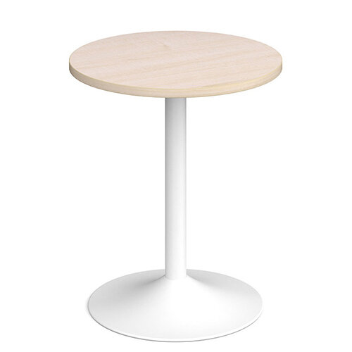 Genoa Circular Maple Dining Table with White Trumpet Base 600mm
