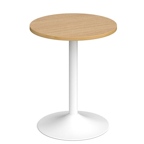 Genoa Circular Oak Dining Table with White Trumpet Base 600mm