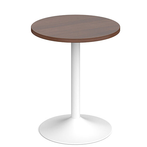 Genoa Circular Walnut Dining Table with White Trumpet Base 600mm