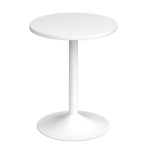 Genoa Circular White Dining Table with White Trumpet Base 600mm