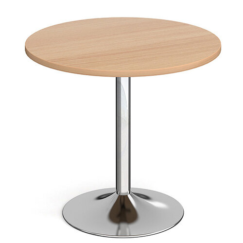 Genoa Circular Beech Dining Table with Chrome Trumpet Base 800mm