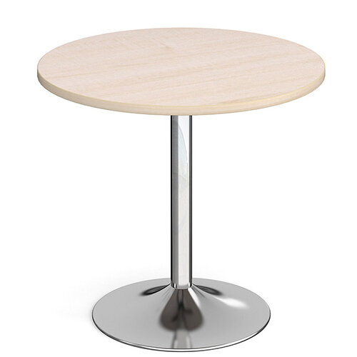 Genoa Circular Maple Dining Table with Chrome Trumpet Base 800mm