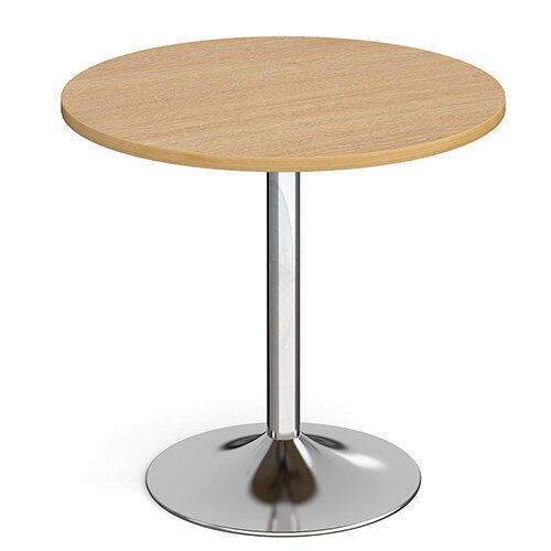 Genoa Circular Oak Dining Table with Chrome Trumpet Base 800mm