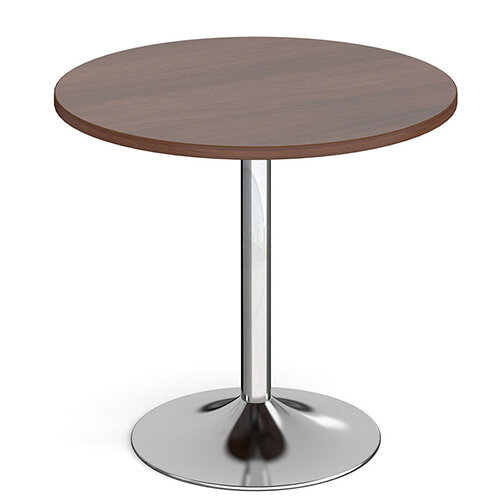 Genoa Circular Walnut Dining Table with Chrome Trumpet Base 800mm