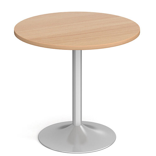 Genoa Circular Beech Dining Table with Silver Trumpet Base 800mm