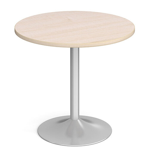 Genoa Circular Maple Dining Table with Silver Trumpet Base 800mm