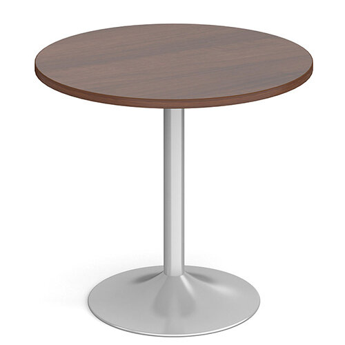 Genoa Circular Walnut Dining Table with Silver Trumpet Base 800mm