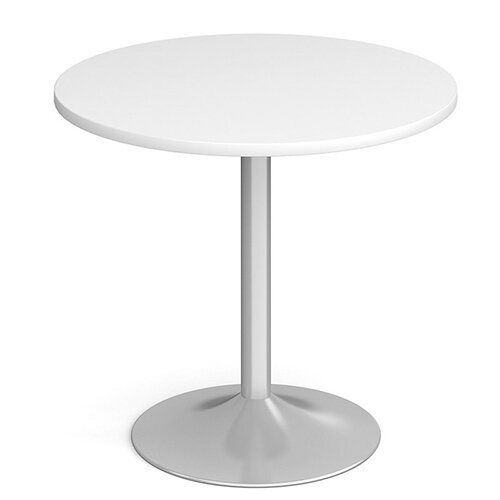 Genoa Circular White Dining Table with Silver Trumpet Base 800mm