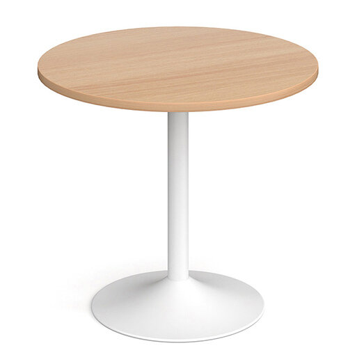 Genoa Circular Beech Dining Table with White Trumpet Base 800mm