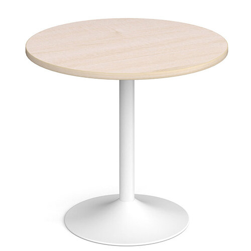 Genoa Circular Maple Dining Table with White Trumpet Base 800mm