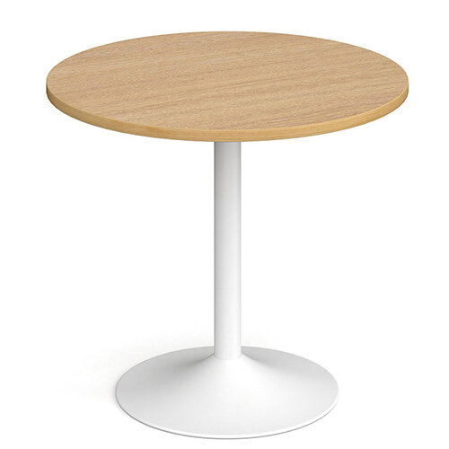 Genoa Circular Oak Dining Table with White Trumpet Base 800mm