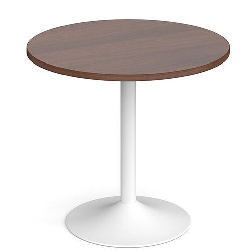Genoa Circular Walnut Dining Table with White Trumpet Base 800mm