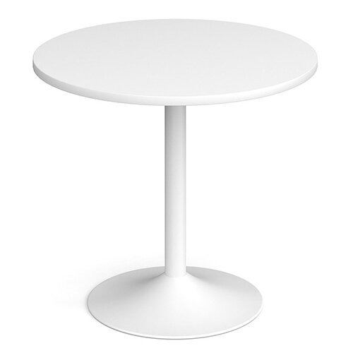 Genoa Circular White Dining Table with White Trumpet Base 800mm