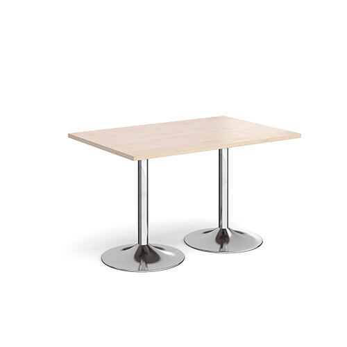 Genoa Rectangular Maple Dining Table with Chrome Trumpet Base 1200mmX800mm
