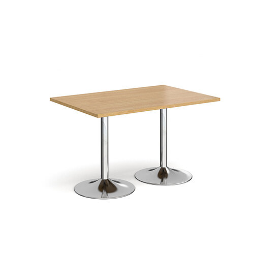Genoa Rectangular Oak Dining Table with Chrome Trumpet Base 1200mmX800mm
