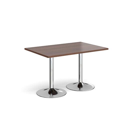 Genoa Rectangular Walnut Dining Table with Chrome Trumpet Base 1200mmX800mm