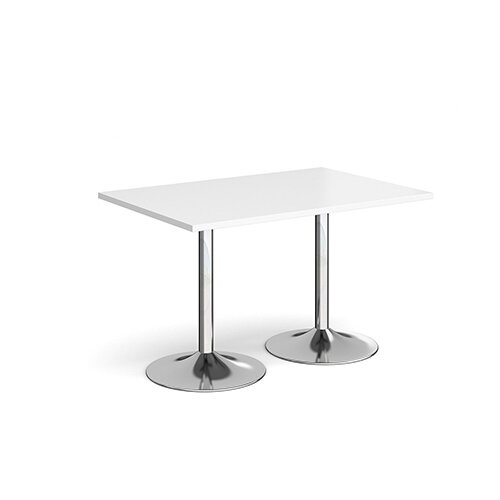 Genoa Rectangular White Dining Table with Chrome Trumpet Base 1200mmX800mm