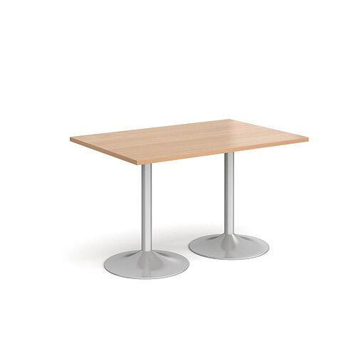 Genoa Rectangular Beech Dining Table with Silver Trumpet Base 1200mmX800mm