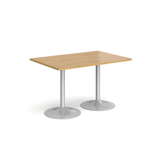 Genoa Rectangular Oak Dining Table with Silver Trumpet Base 1200mmX800mm