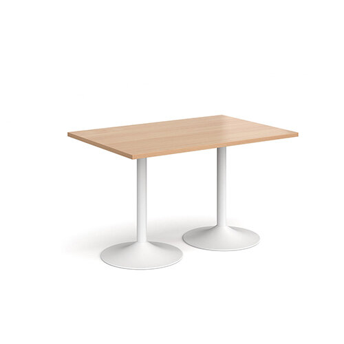 Genoa Rectangular Beech Dining Table with White Trumpet Base 1200mmX800mm