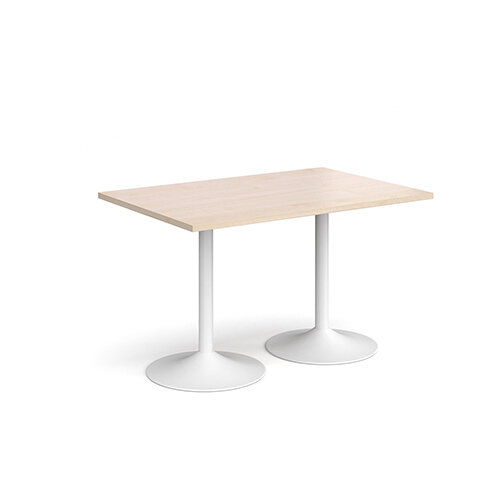 Genoa Rectangular Maple Dining Table with White Trumpet Base 1200mmX800mm