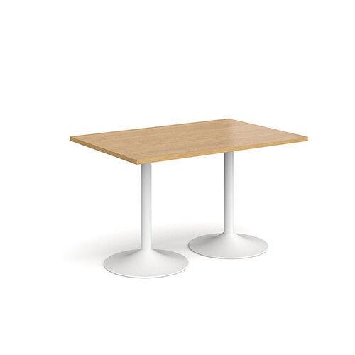 Genoa Rectangular Oak Dining Table with White Trumpet Base 1200mmX800mm