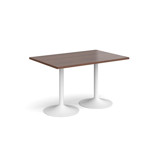 Genoa Rectangular Walnut Dining Table with White Trumpet Base 1200mmX800mm