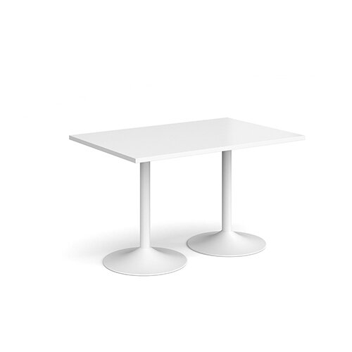 Genoa Rectangular White Dining Table with White Trumpet Base 1200mmX800mm