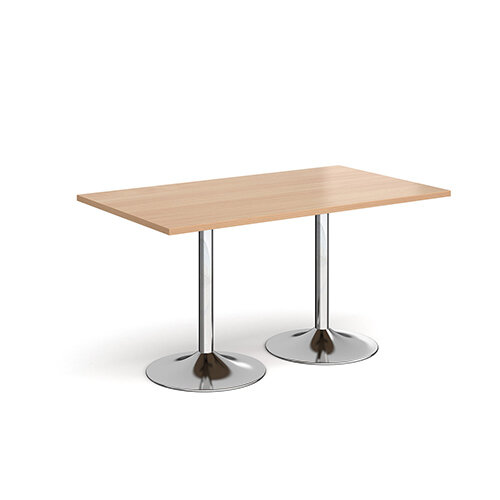 Genoa Rectangular Beech Dining Table with Chrome Trumpet Base 1400mmX800mm